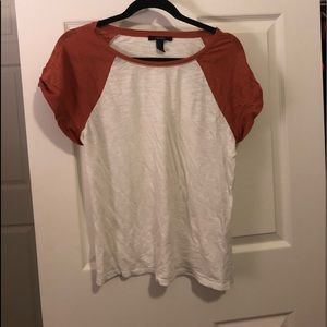 Burnet orange and white baseball tee